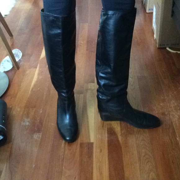 cc22f1d97df3 Lanvin Shoes - LANVIN leather concealed wedge high knee boots